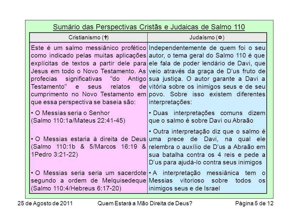 Sumário das Perspectivas Cristãs e Judaicas de Salmo 110