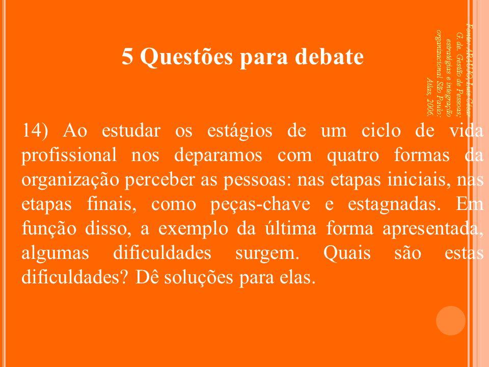5 Questões para debate Fonte: ARAUJO, Luis César G. de. Gestão de Pessoas; estratégias e integração organizacional São Paulo: Atlas, 2006.