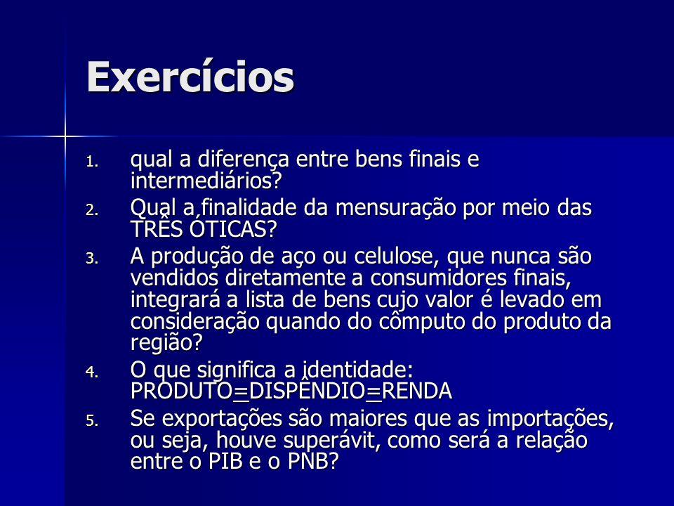 Exercícios qual a diferença entre bens finais e intermediários