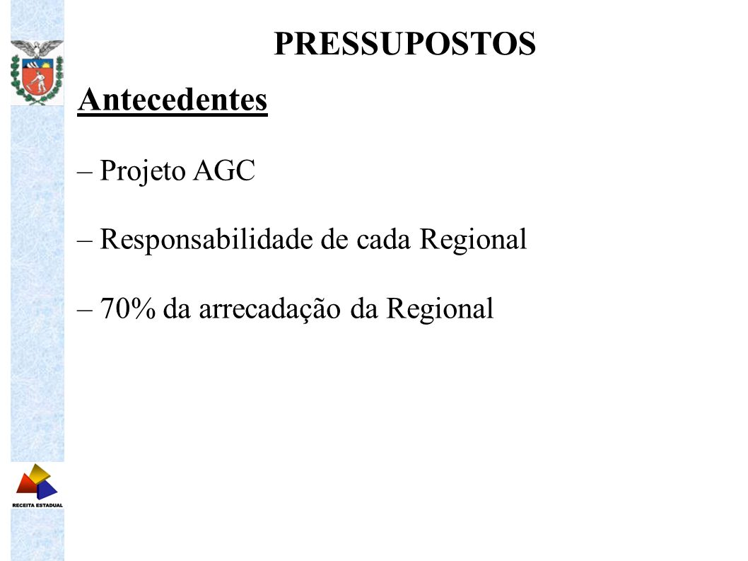 PRESSUPOSTOS Antecedentes – Projeto AGC