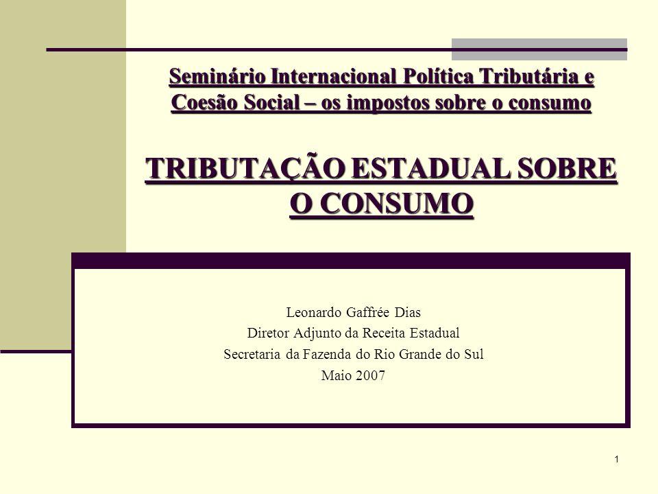 Seminário Internacional Política Tributária e Coesão Social – os impostos sobre o consumo TRIBUTAÇÃO ESTADUAL SOBRE O CONSUMO