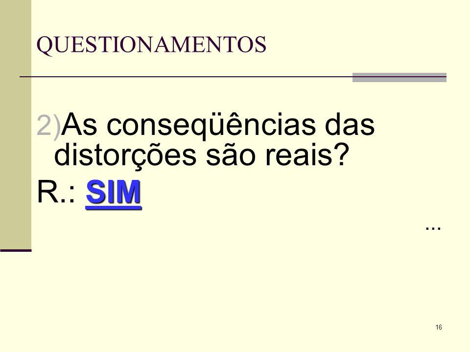 As conseqüências das distorções são reais R.: SIM