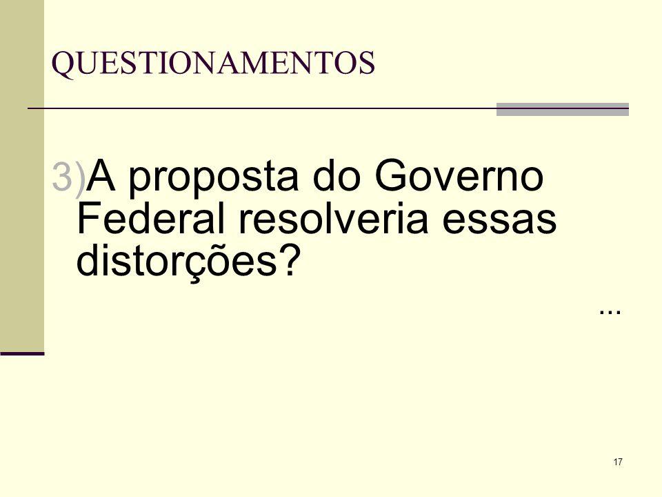 A proposta do Governo Federal resolveria essas distorções