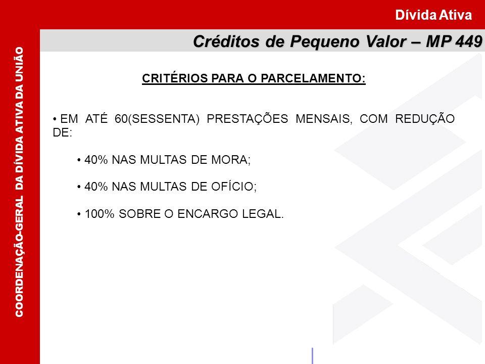 CRITÉRIOS PARA O PARCELAMENTO: