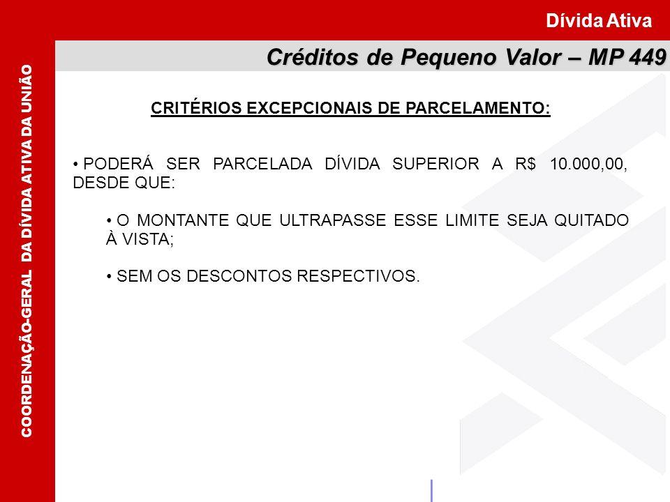 CRITÉRIOS EXCEPCIONAIS DE PARCELAMENTO: