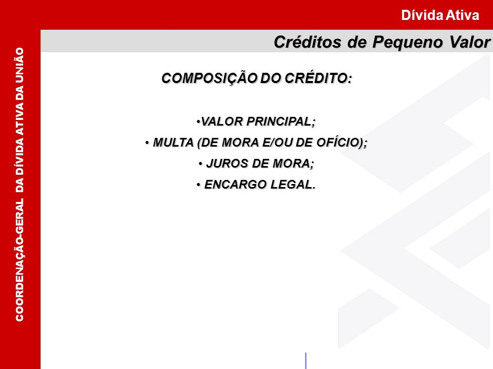 COMPOSIÇÃO DO CRÉDITO: MULTA (DE MORA E/OU DE OFÍCIO);