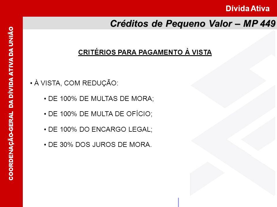 CRITÉRIOS PARA PAGAMENTO À VISTA