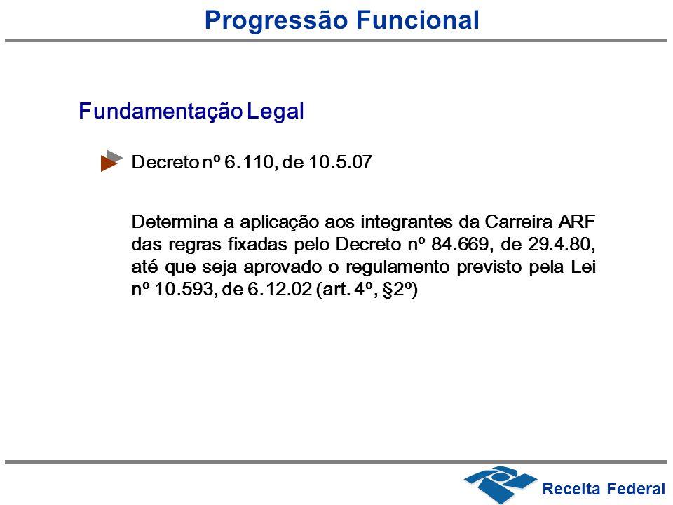 Progressão Funcional Fundamentação Legal Decreto nº 6.110, de 10.5.07