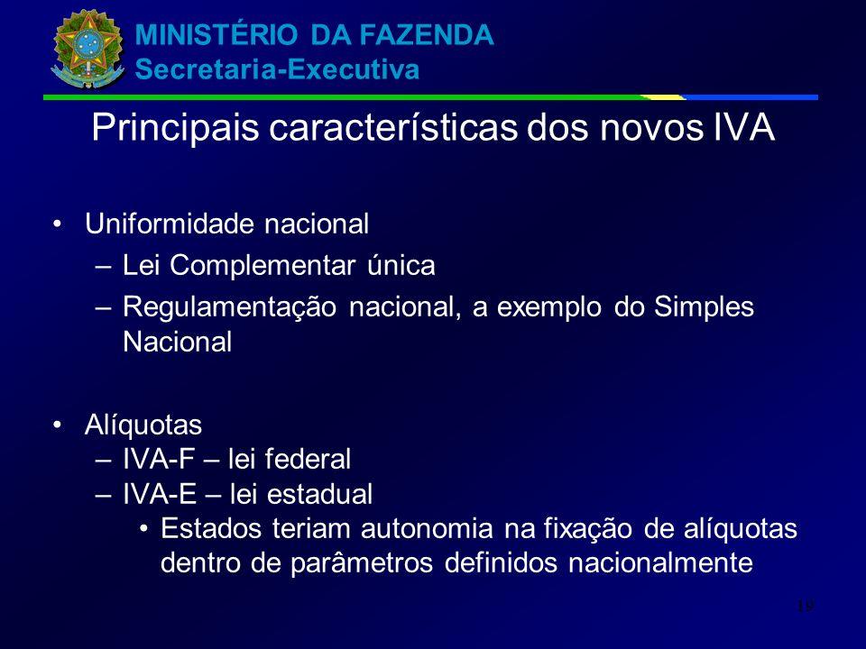 Principais características dos novos IVA