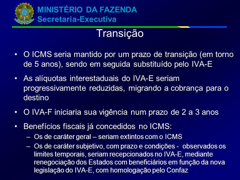 Transição O ICMS seria mantido por um prazo de transição (em torno de 5 anos), sendo em seguida substituído pelo IVA-E.
