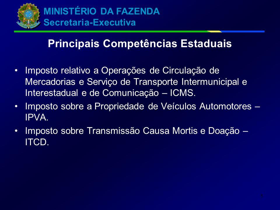 Principais Competências Estaduais