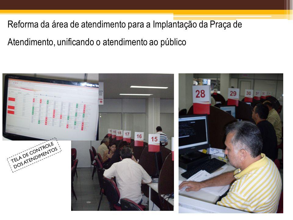 Reforma da área de atendimento para a Implantação da Praça de Atendimento, unificando o atendimento ao público