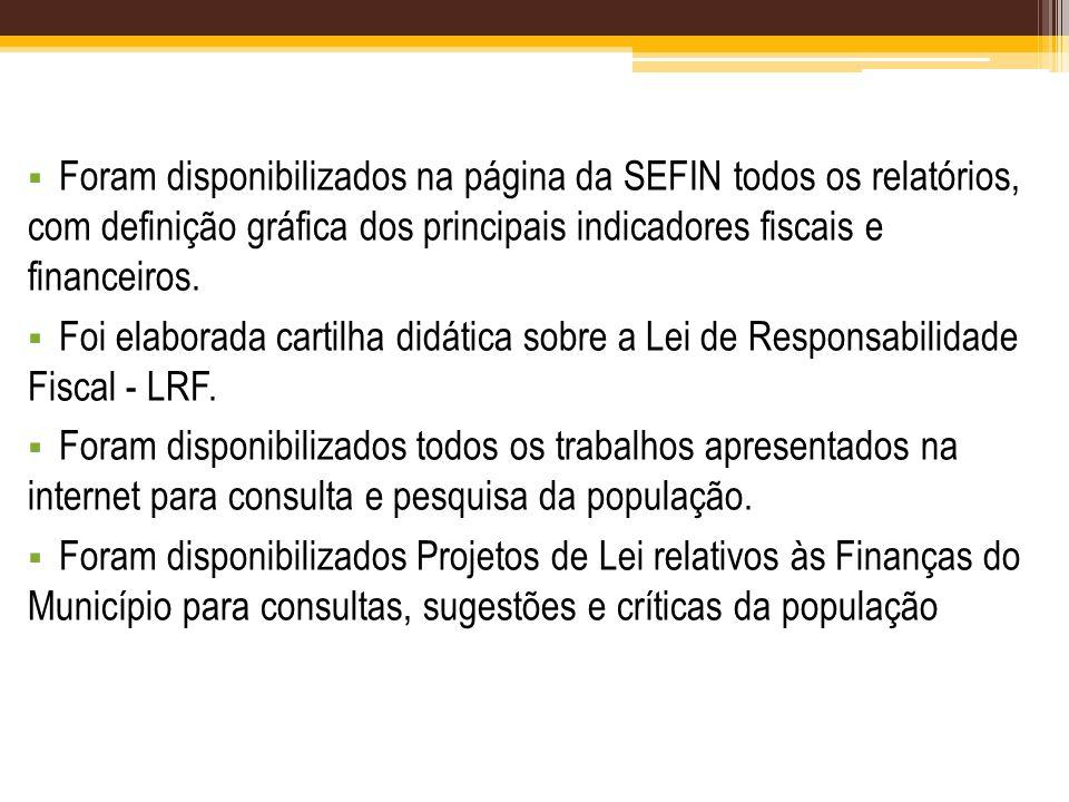 Foram disponibilizados na página da SEFIN todos os relatórios, com definição gráfica dos principais indicadores fiscais e financeiros.