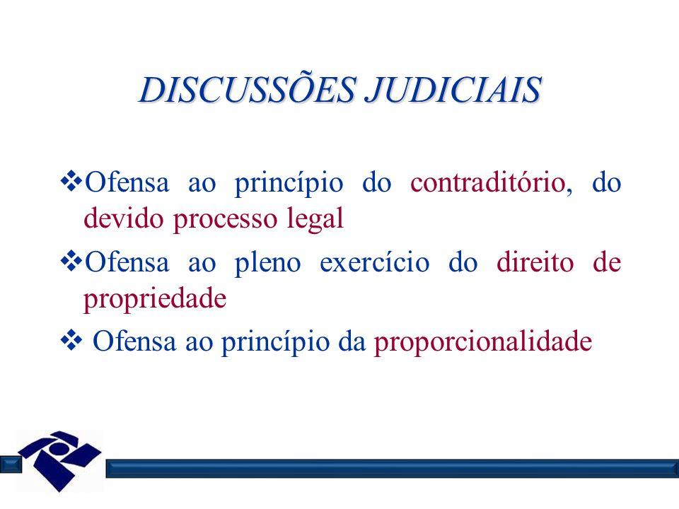 DISCUSSÕES JUDICIAIS Ofensa ao princípio do contraditório, do devido processo legal. Ofensa ao pleno exercício do direito de propriedade.