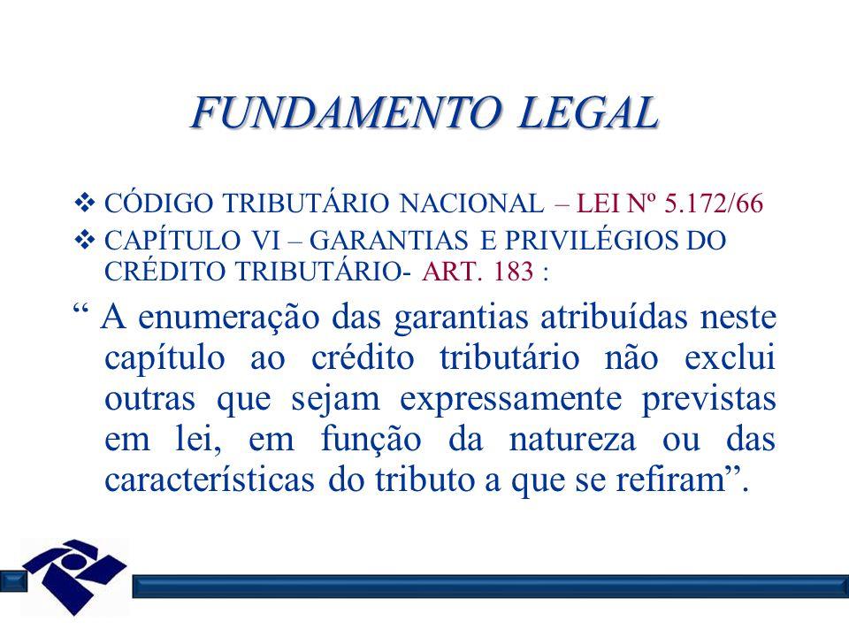 FUNDAMENTO LEGAL CÓDIGO TRIBUTÁRIO NACIONAL – LEI Nº 5.172/66. CAPÍTULO VI – GARANTIAS E PRIVILÉGIOS DO CRÉDITO TRIBUTÁRIO- ART. 183 :