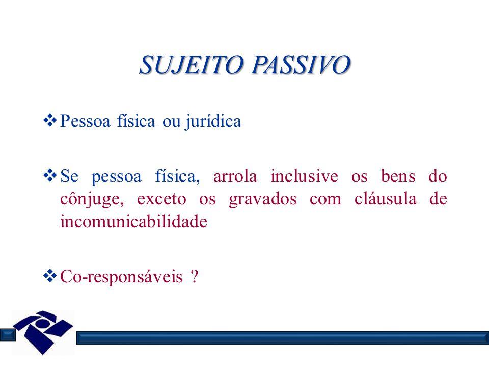 SUJEITO PASSIVO Pessoa física ou jurídica