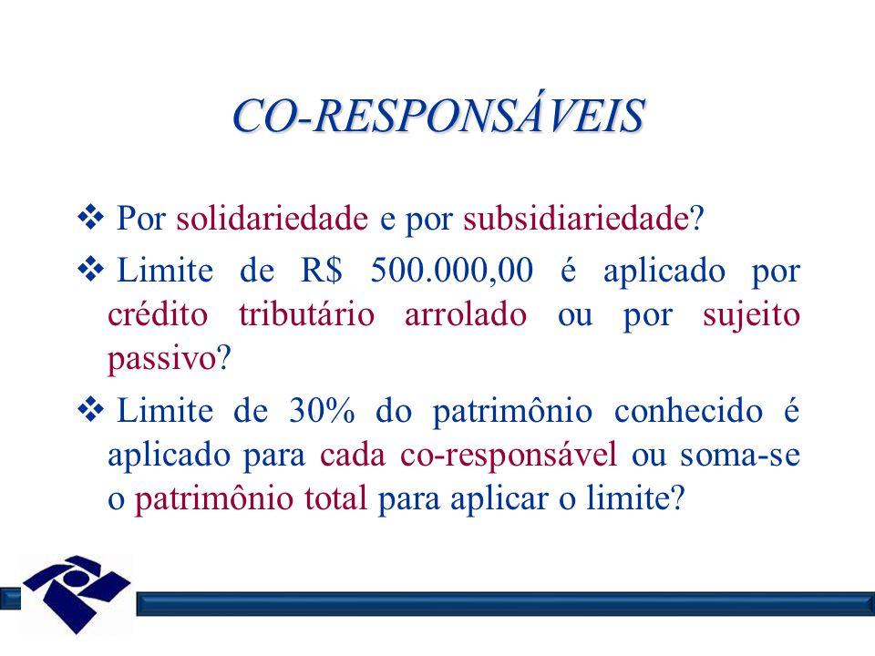CO-RESPONSÁVEIS Por solidariedade e por subsidiariedade