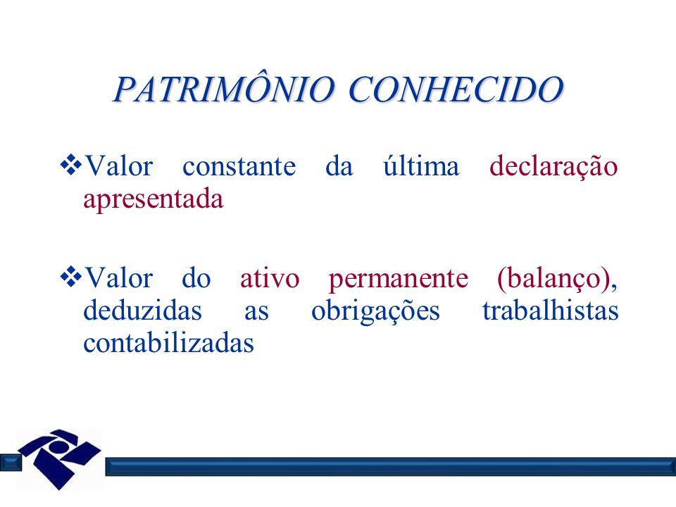 PATRIMÔNIO CONHECIDO Valor constante da última declaração apresentada