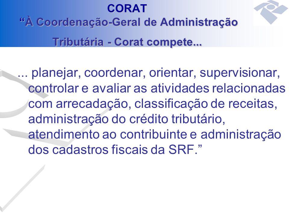 CORAT À Coordenação-Geral de Administração Tributária - Corat compete...