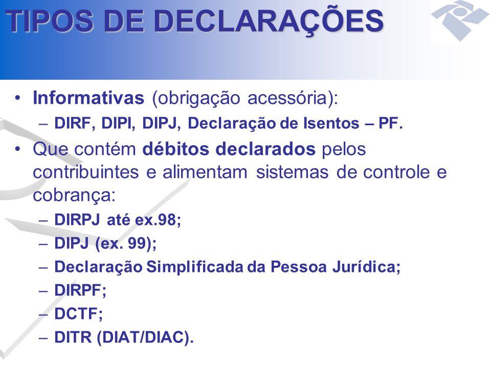 TIPOS DE DECLARAÇÕES Informativas (obrigação acessória):