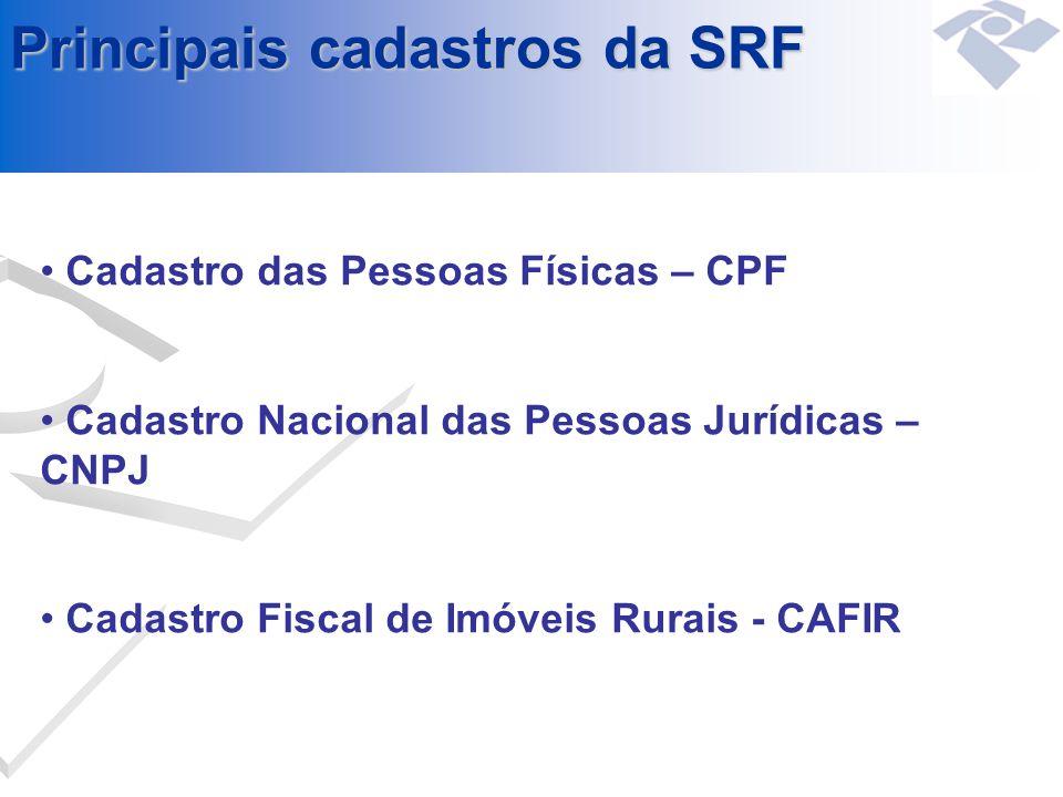 Principais cadastros da SRF