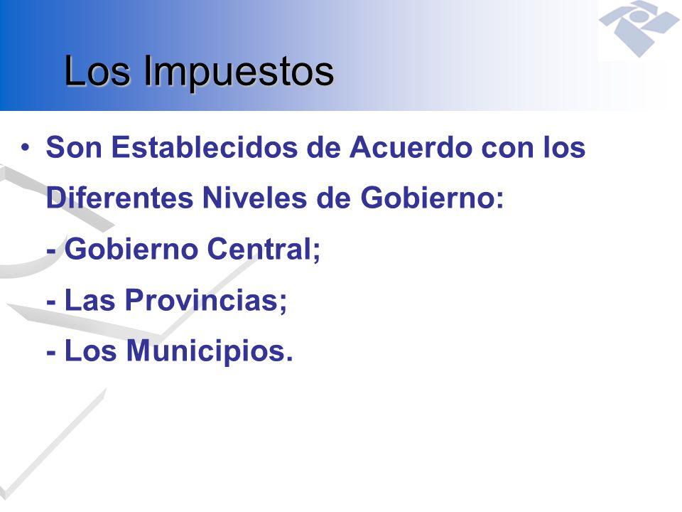 Los Impuestos Son Establecidos de Acuerdo con los Diferentes Niveles de Gobierno: - Gobierno Central; - Las Provincias; - Los Municipios.