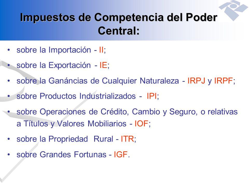 Impuestos de Competencia del Poder Central: