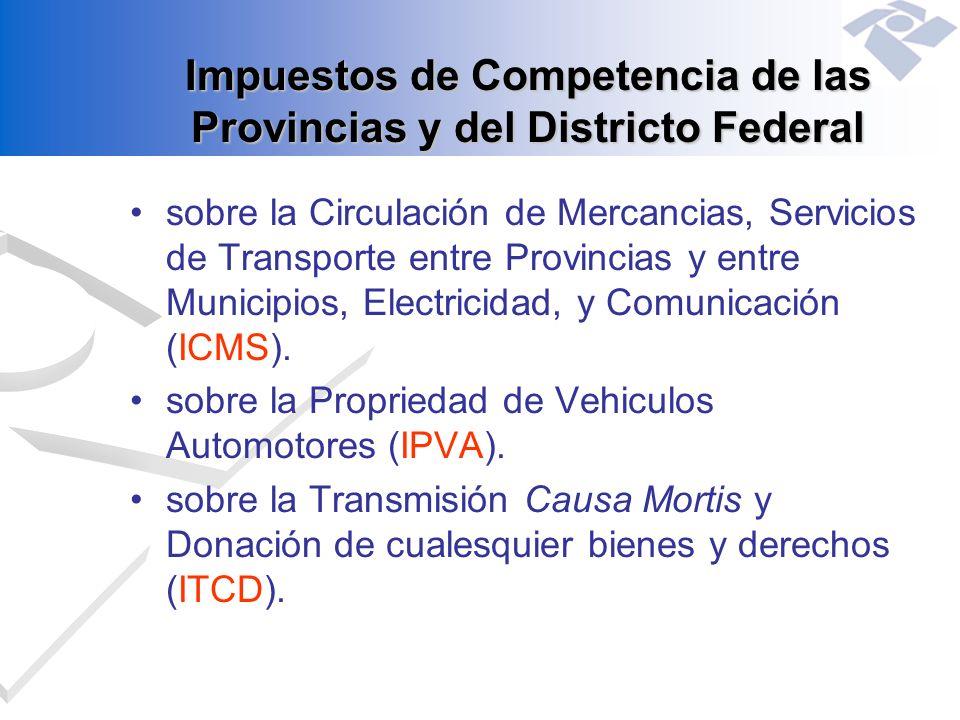 Impuestos de Competencia de las Provincias y del Districto Federal