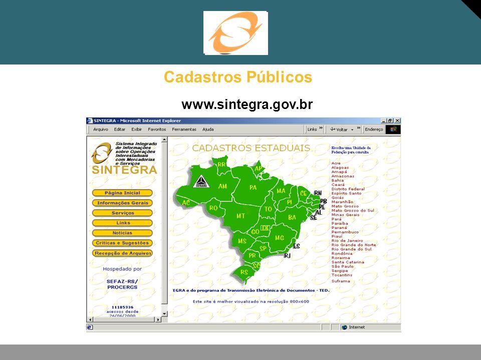 Cadastros Públicos www.sintegra.gov.br