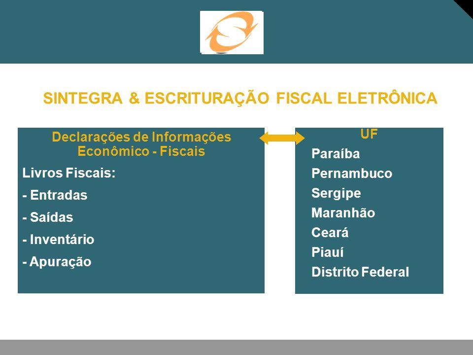 SINTEGRA & ESCRITURAÇÃO FISCAL ELETRÔNICA