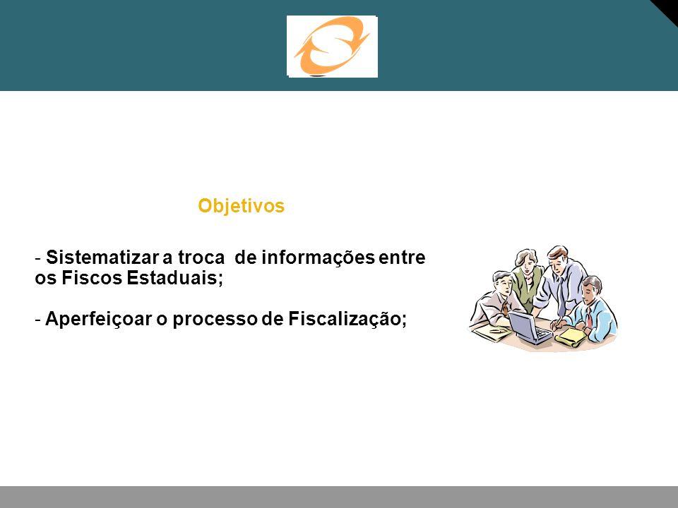 ObjetivosSistematizar a troca de informações entre os Fiscos Estaduais; Aperfeiçoar o processo de Fiscalização;