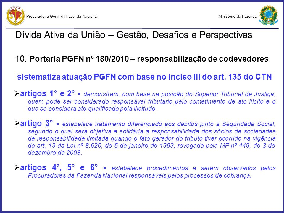 sistematiza atuação PGFN com base no inciso III do art. 135 do CTN