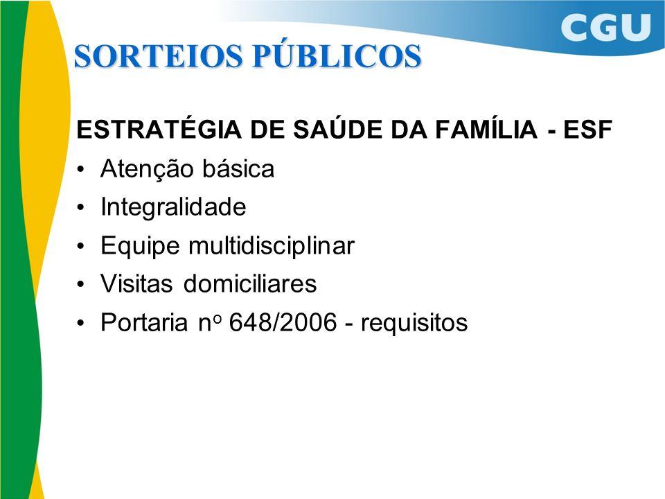 SORTEIOS PÚBLICOS ESTRATÉGIA DE SAÚDE DA FAMÍLIA - ESF Atenção básica