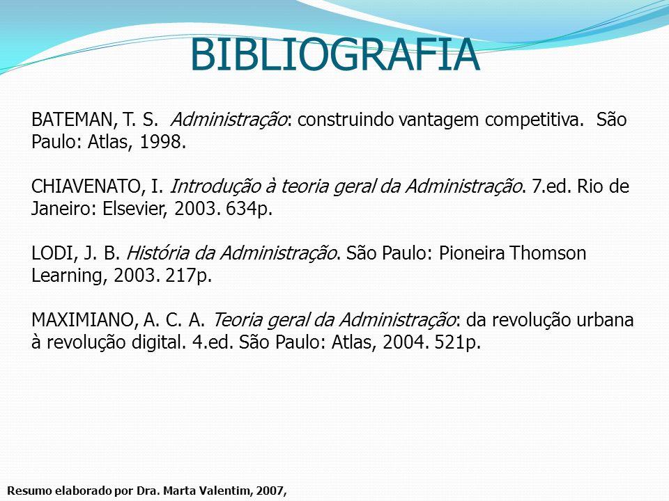 BIBLIOGRAFIA BATEMAN, T. S. Administração: construindo vantagem competitiva. São Paulo: Atlas, 1998.