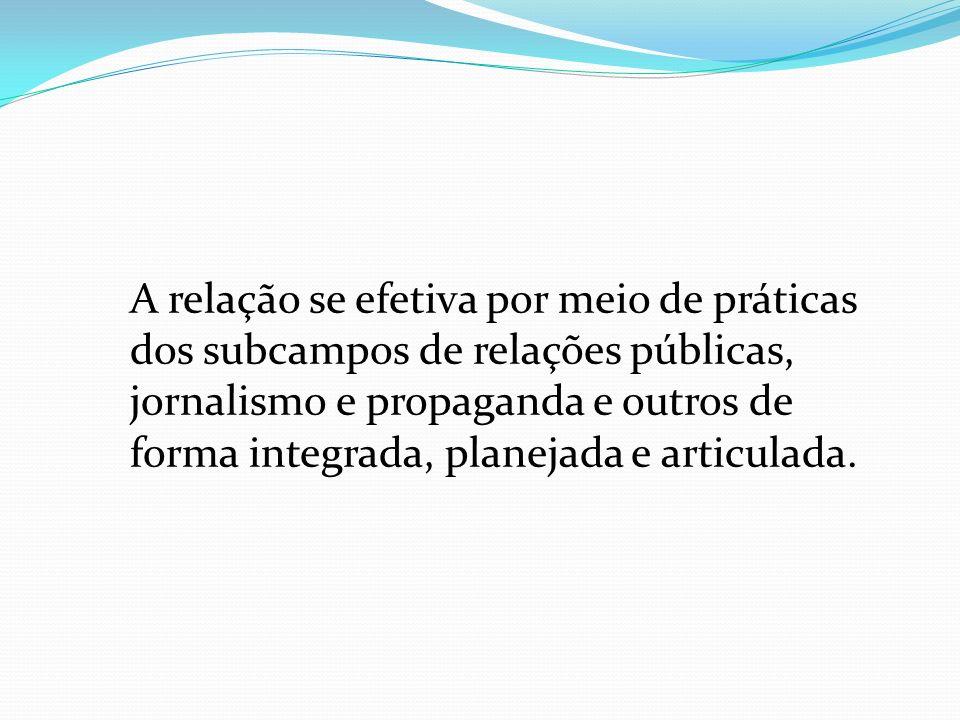A relação se efetiva por meio de práticas dos subcampos de relações públicas, jornalismo e propaganda e outros de forma integrada, planejada e articulada.