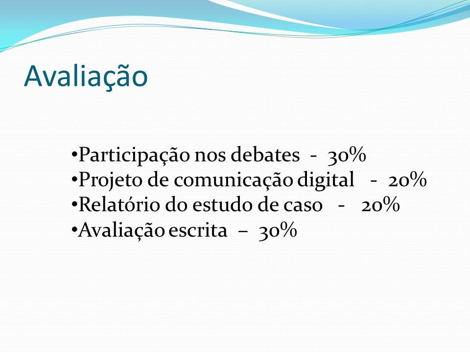 Avaliação Participação nos debates - 30%