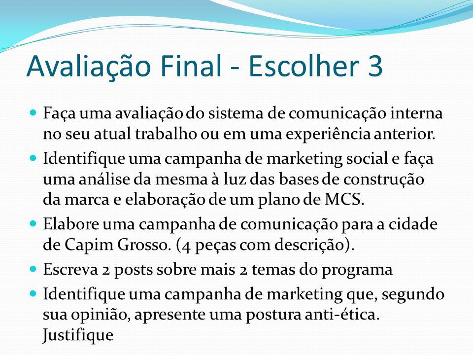 Avaliação Final - Escolher 3