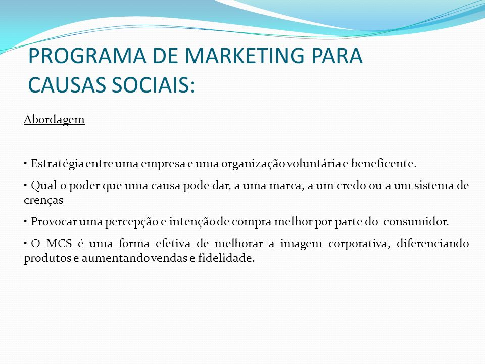 PROGRAMA DE MARKETING PARA CAUSAS SOCIAIS: