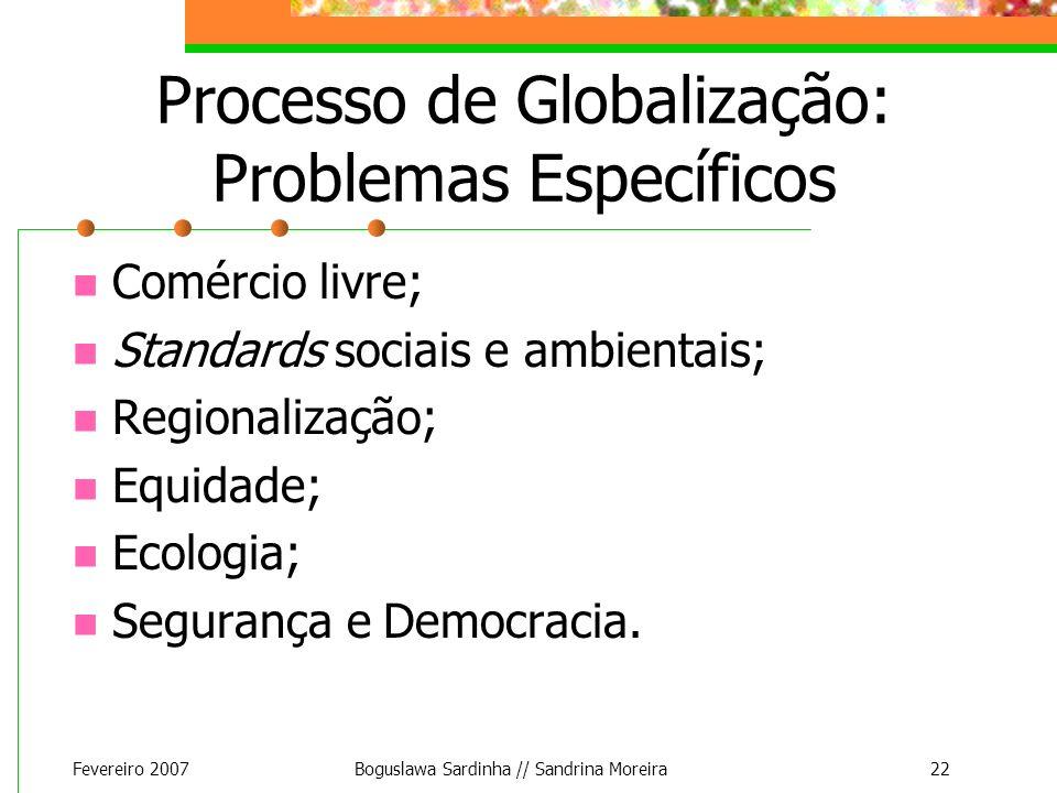 Processo de Globalização: Problemas Específicos