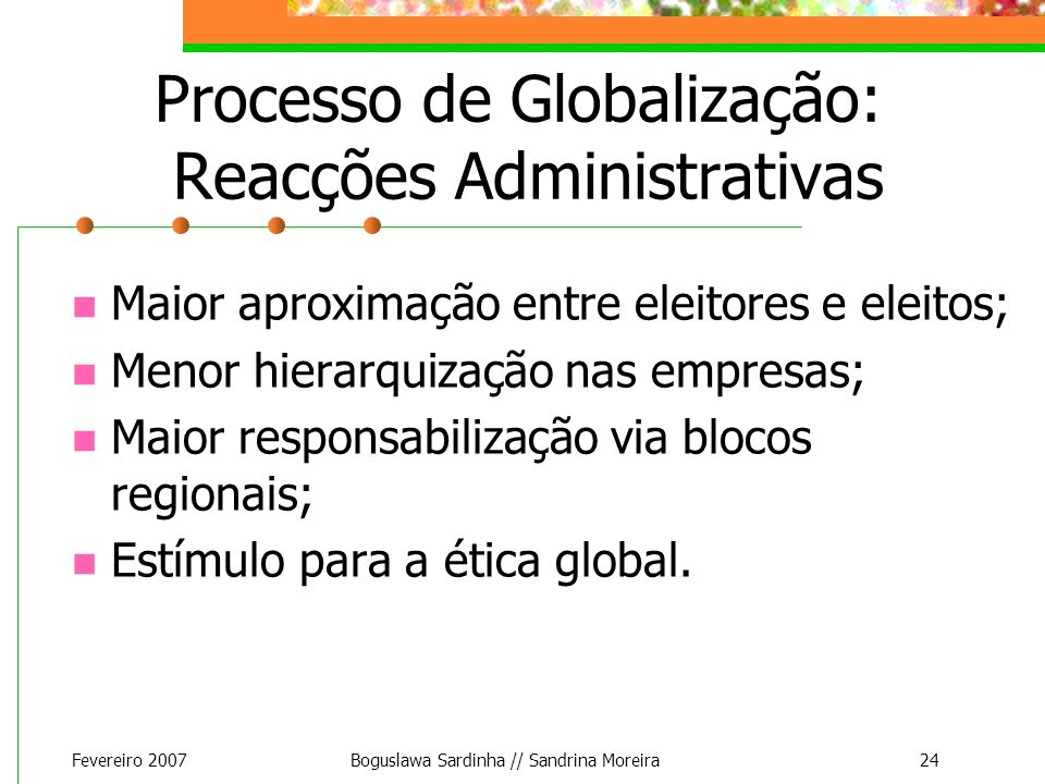 Processo de Globalização: Reacções Administrativas