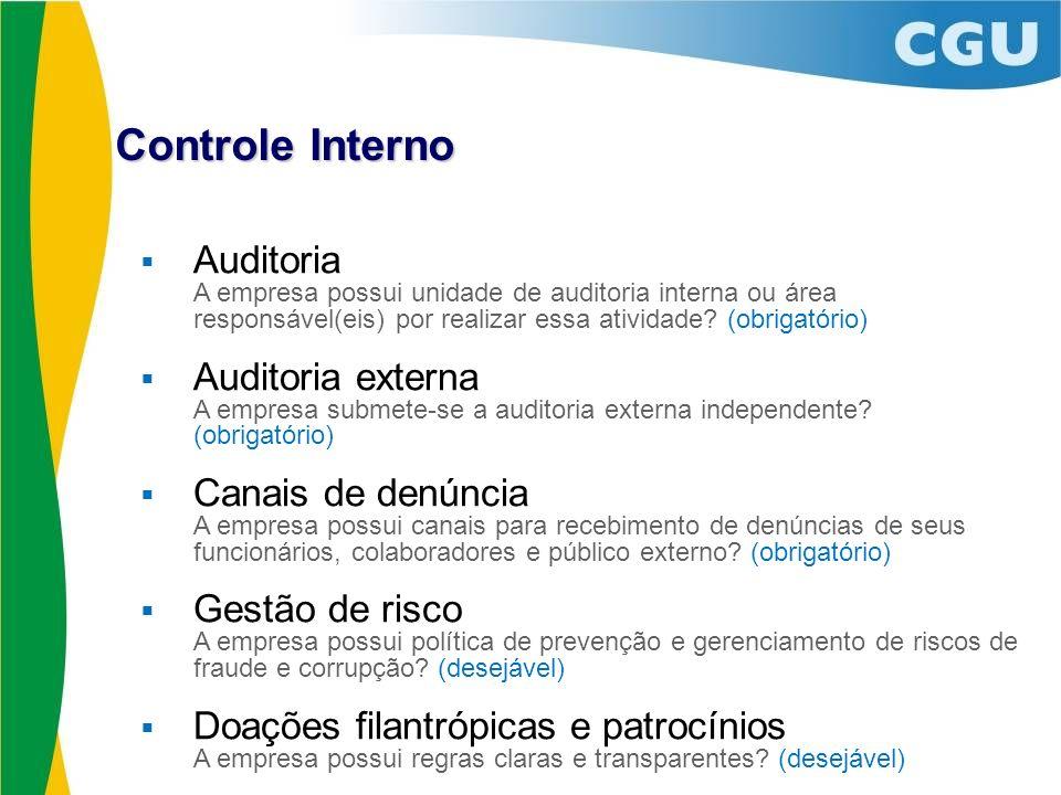 Controle Interno Auditoria A empresa possui unidade de auditoria interna ou área responsável(eis) por realizar essa atividade (obrigatório)