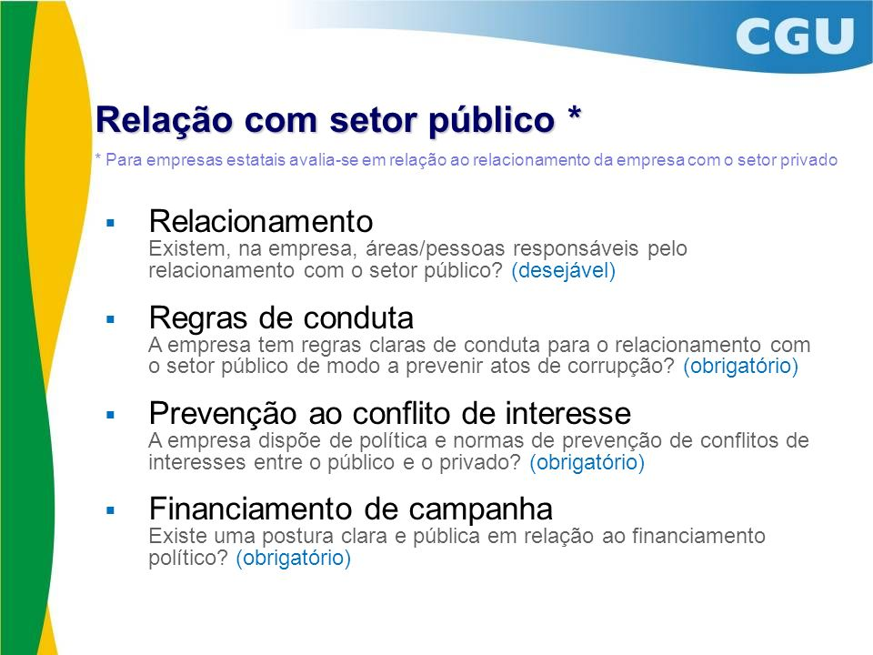 Relação com setor público *