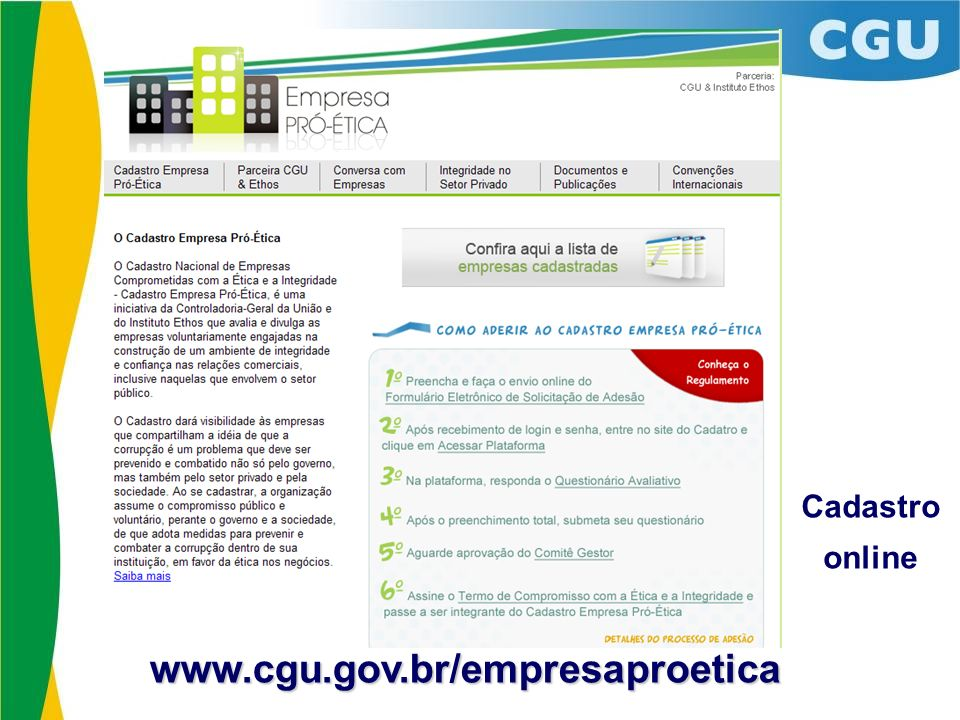 Cadastro online www.cgu.gov.br/empresaproetica