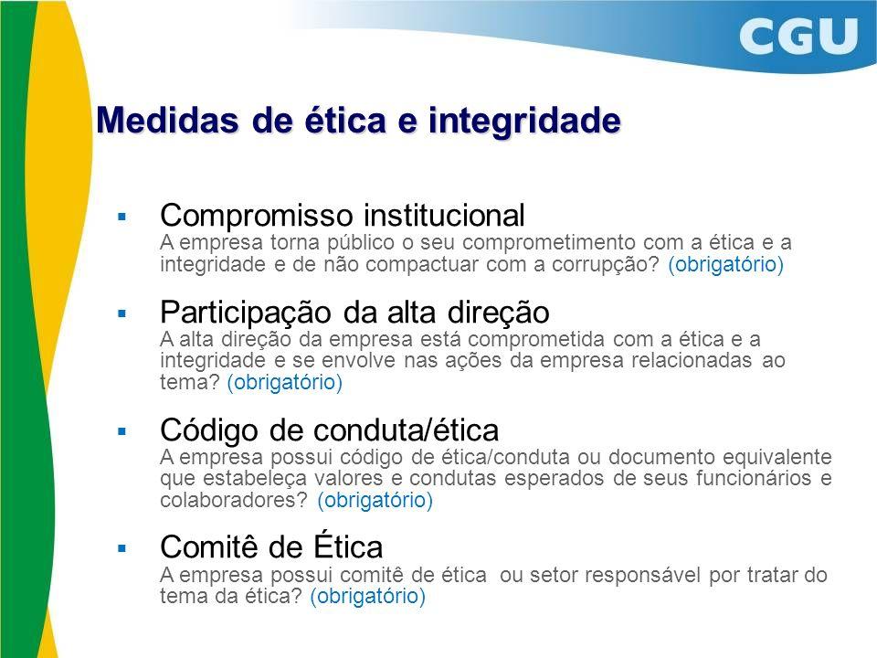 Medidas de ética e integridade