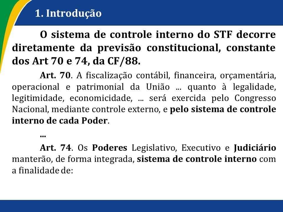 1. IntroduçãoO sistema de controle interno do STF decorre diretamente da previsão constitucional, constante dos Art 70 e 74, da CF/88.
