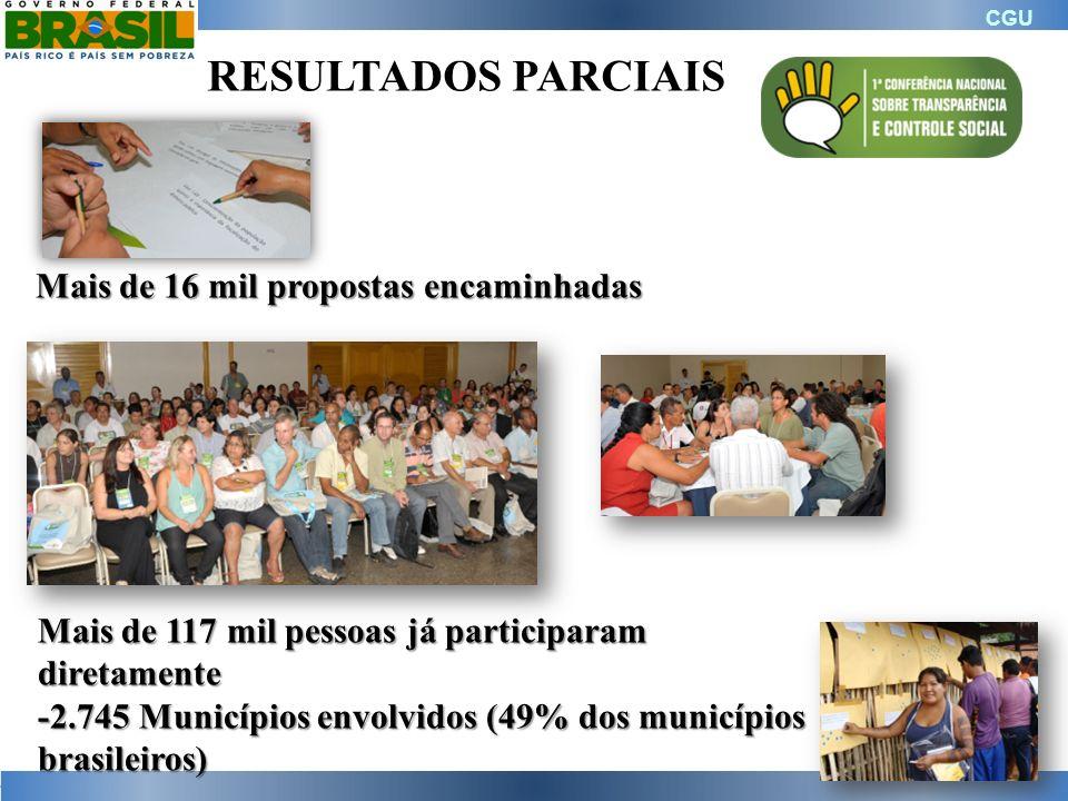 RESULTADOS PARCIAIS Mais de 16 mil propostas encaminhadas