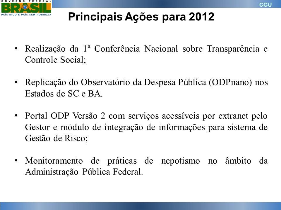 Principais Ações para 2012 Realização da 1ª Conferência Nacional sobre Transparência e Controle Social;