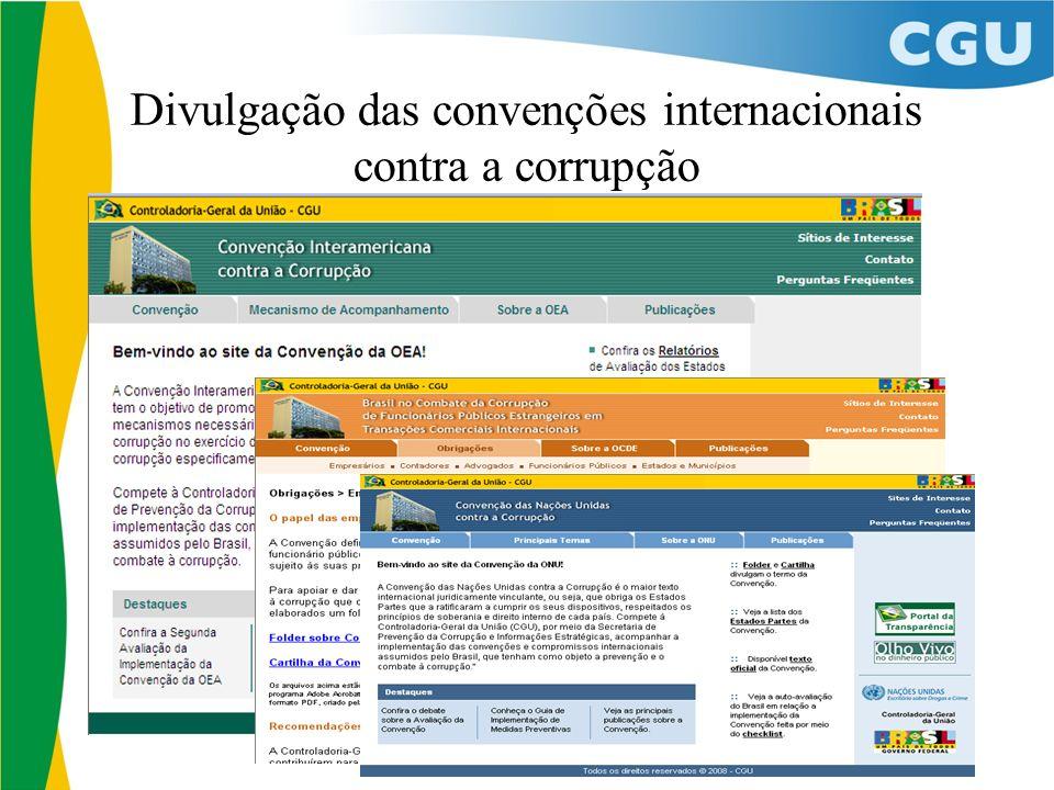 Divulgação das convenções internacionais contra a corrupção