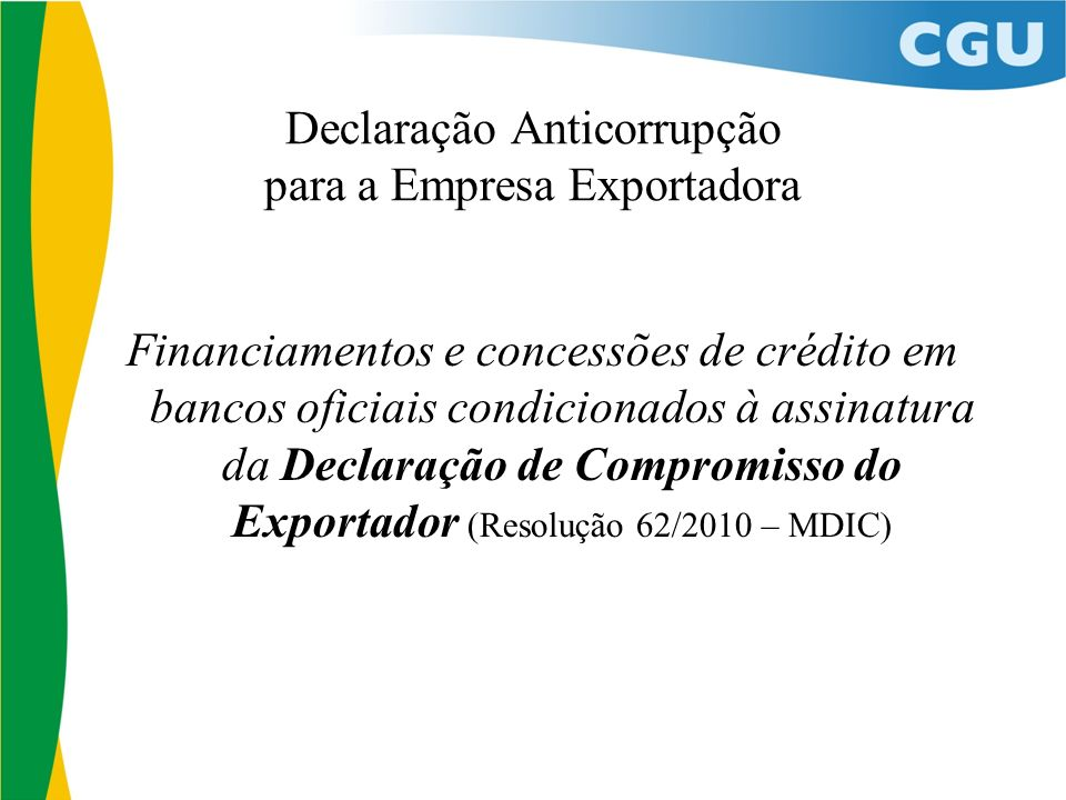 Declaração Anticorrupção para a Empresa Exportadora