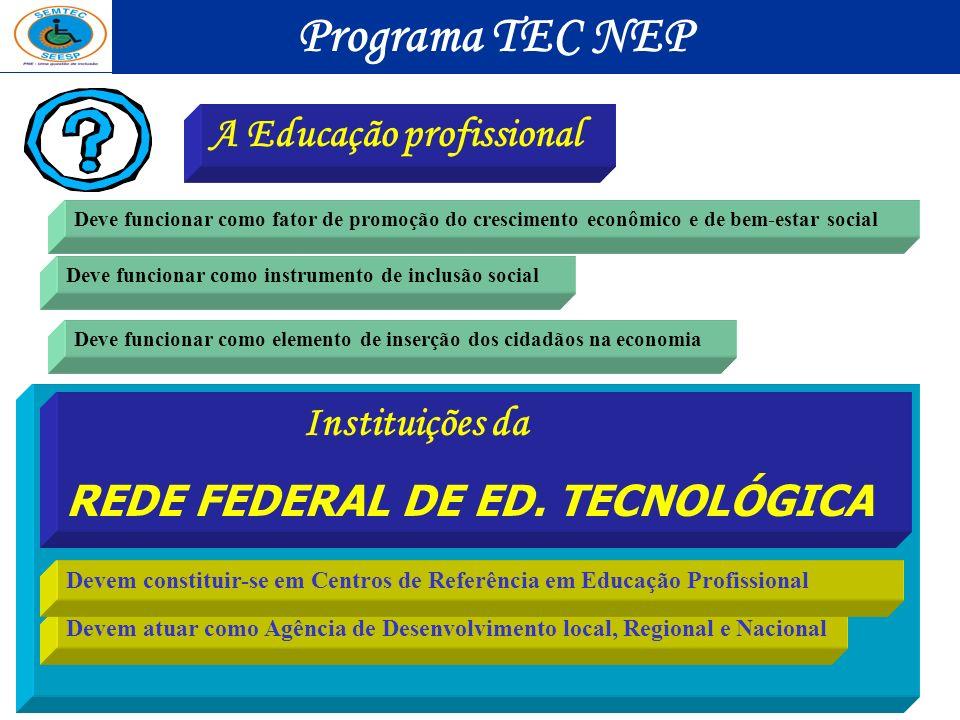 Programa TEC NEP A Educação profissional Instituições da